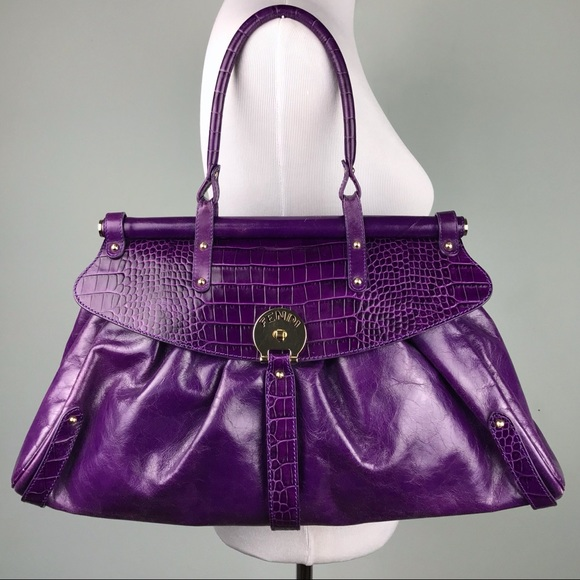 846d654566 Fendi Bags | Purple Leather Embossed Shoulder Bag Purse | Poshmark